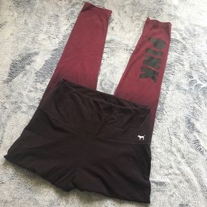 PINK Victoria's Secret Maroon Ombré Leggings